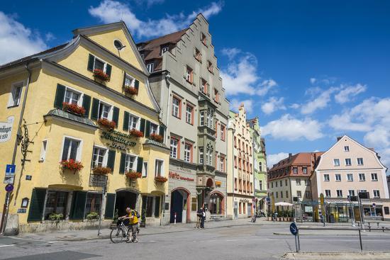 Old Trader Houses on Arnulfsplatz, a Square in Regensburg, Bavaria, Germany-Michael Runkel-Photographic Print