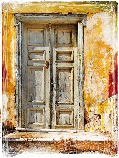 Old Traditional Greek Doors - Artwork In Painting Style-Maugli-l-Art Print