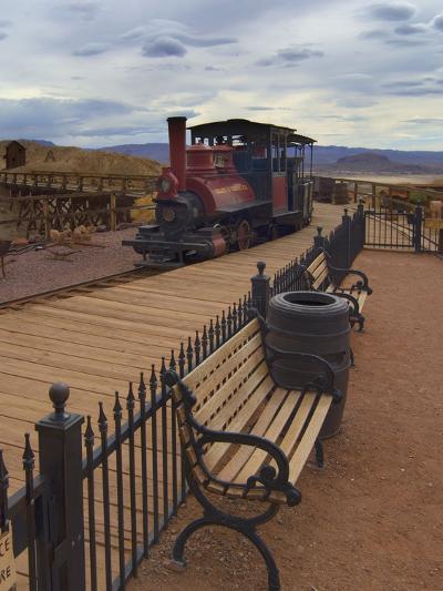 Old Train in a Ghost Town, Calico, Yermo, Mojave Desert, California, USA, North America-Antonio Busiello-Photographic Print