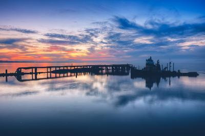 Old Tugboat and Pier at Sunset, San Pablo Bay--Photographic Print