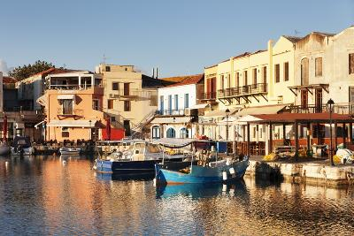 Old Venetian Harbour, Taverns on Seaside, Rethymno (Rethymnon)-Markus Lange-Photographic Print