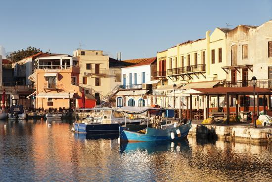 Old Venetian Harbour, Taverns on Seaside, Rethymno (Rethymnon)-Markus Lange-Photographic Print