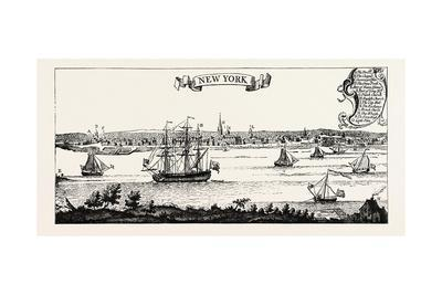 Old View of New York. from Popple's American Atlas, 1730.Usa, 1870S--Giclee Print