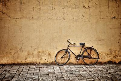 Old Vintage Bicycle Near The Wall-pzAxe-Art Print