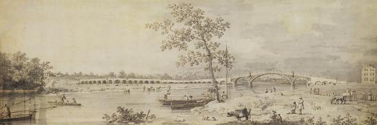 Old Walton Bridge Seen from the Middlesex Shore, 1755 (Pen and Ink with Wash on Paper)-Canaletto-Giclee Print