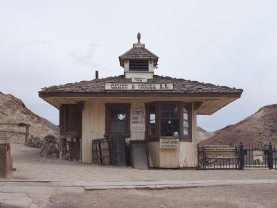 Old West Train Station in a Ghost Town, Calico, Yermo, Mojave Desert, California, USA-Antonio Busiello-Photographic Print