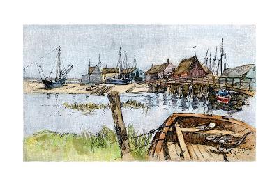 Old Wharves in Wellfleet, Cape Cod, 1880s--Photographic Print