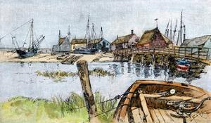 Old Wharves in Wellfleet, Cape Cod, 1880s