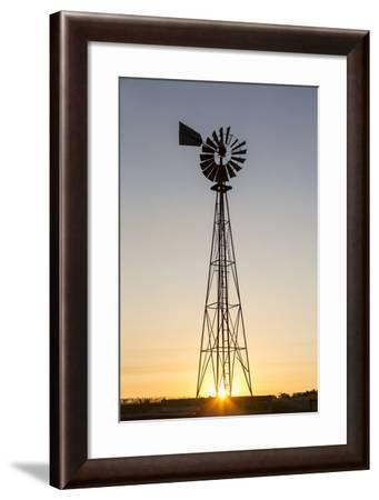 Old Windmill at Sunset Near New England, North Dakota, USA-Chuck Haney-Framed Photographic Print