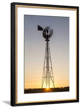 Old Windmill at Sunset Near New England, North Dakota, USA-Chuck Haney-Framed Photographic Print