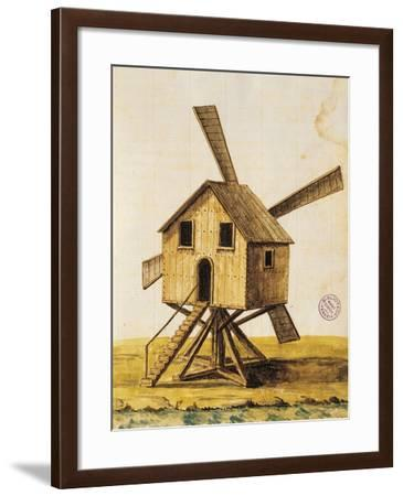 Old Windmill, from a 17th Century Manuscript, Italy--Framed Giclee Print
