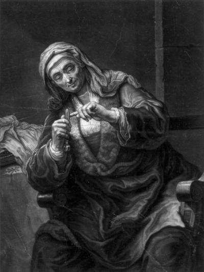 Old Woman Cutting Her Nails, 18th or 19th Century-J Haid-Giclee Print