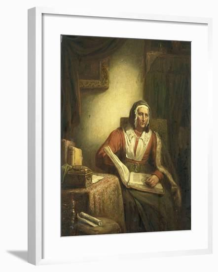 Old Woman Reading-George Gillis Haanen-Framed Art Print