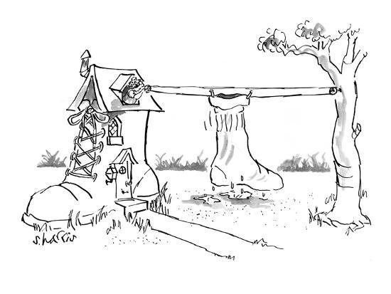 5fe3bf19f1f Old woman who lived in a shoe hangs a huge sock out to dry on a  clothesline. - New Yorker Cartoon Premium Giclee Print by Sidney Harris |  Art.com