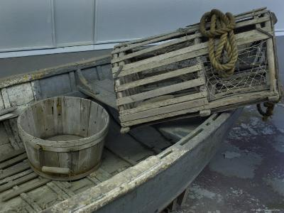 Old Wooden Boat with a Barrel and Lobster Trap, Mystic, Connecticut-Todd Gipstein-Photographic Print