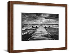 Old Wooden Jetty, Pier, during Storm on the Sea. Dramatic Sky with Dark, Heavy Clouds. Black and Wh-Michal Bednarek-Framed Photographic Print
