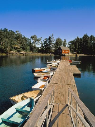 Old Wooden Pier and Boats in Harbor-Design Pics Inc-Photographic Print
