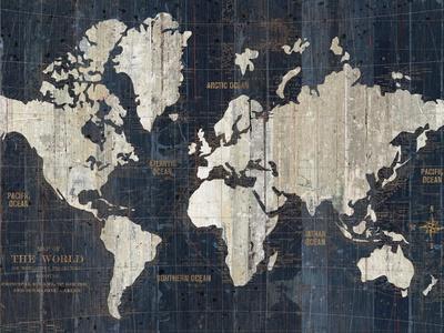 Old World Map Blue Crop-Wild Apple Portfolio-Art Print