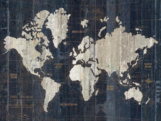 Old World Map Blue v2-Wild Apple Portfolio-Art Print