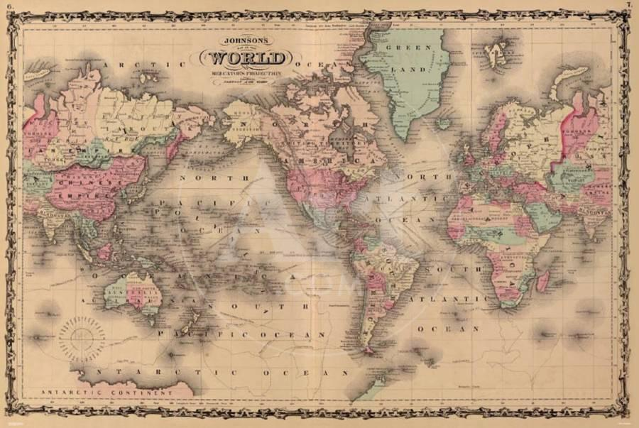 Old World Map Colorful Art Print Poster Poster by | Art.com