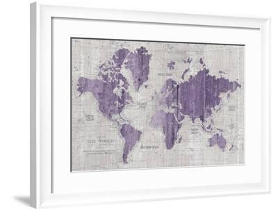 Old World Map Purple Gray-Wild Apple Portfolio-Framed Art Print