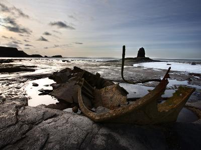 Old Wreck and Black Nab at Saltwick Bay, Near Whitby, North Yorkshire, Yorkshire, England, UK-Mark Sunderland-Photographic Print