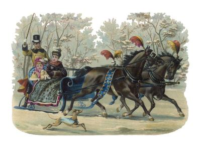 Older and Younger Sisters Ride in a Sleigh While their Dog Runs Beside Them--Giclee Print