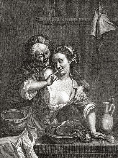 Older Man Seducing a Young Woman--Giclee Print