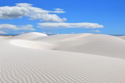 Socotra, Yemen, White Sand Dunes in Stero. Indian Ocean on Background