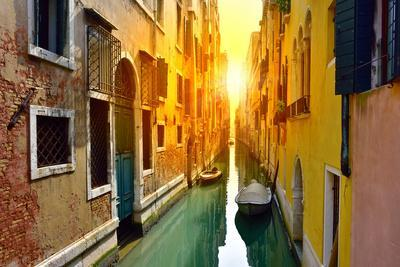 Venice Canal at Sunrise. Tourists from All the World Enjoy the Historical City of Venezia in Italy,