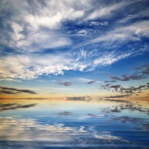 Beautiful Seascape. Deep Blue Sky at Sunny Day. Sky Background by Oleh Honcharenko