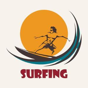 Surfer Rides on a Long Board. Surfing Club Emblem. Isolated on White by Olena Bogadereva