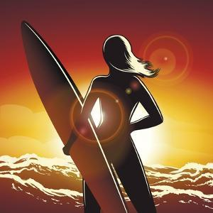 Young Surfer Girl with a Long Board on a Summer Beach by Olena Bogadereva