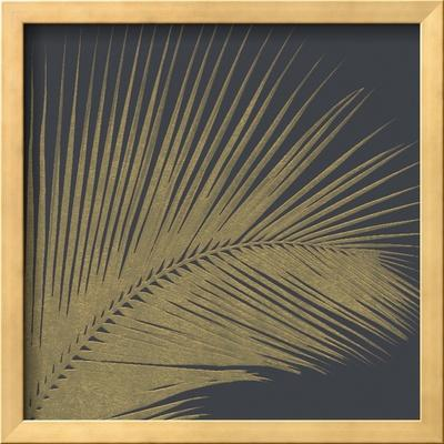 3 D Illustration Golden Palm Leaves. Abstract Black Relief Background with Gold Leaf with a Volumin by Olena Naryzhniak