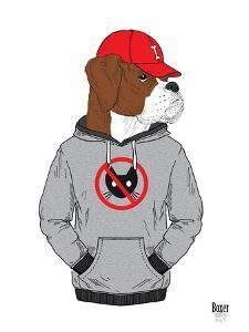 Boxer Dog in City Style by Olga Angellos