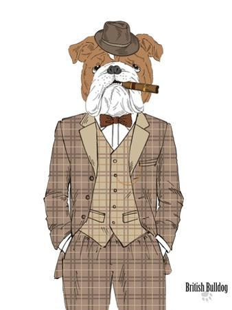 British Bulldog in Tweed Suit by Olga Angellos