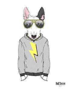 Bull Terrier in City Style by Olga Angellos