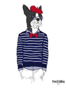 French Bulldog in French Style by Olga Angellos