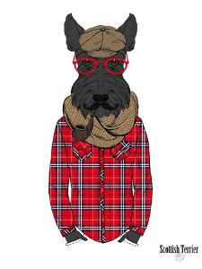Scottish Terrier in Pin Plaid Shirt by Olga Angellos