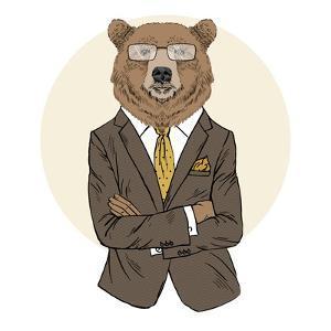 Brown Bear Dressed up in Office Suit by Olga_Angelloz