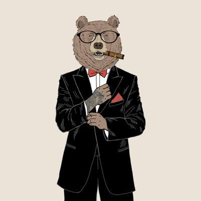 Brown Bear Dressed up in Tuxedo