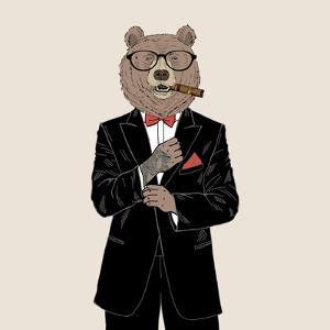 Brown Bear Dressed up in Tuxedo by Olga_Angelloz