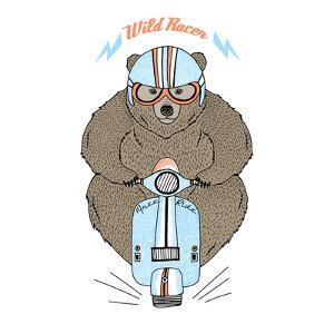 Brown Bear Driving a Scooter by Olga_Angelloz