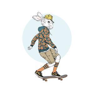 Bunny Boy Riding on a Skateboard by Olga_Angelloz