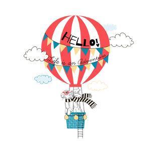 Bunny Flying in Air Balloon by Olga_Angelloz