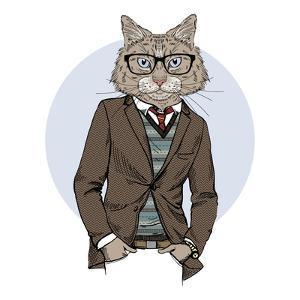 Cat Dressed up in Tweed Jacket by Olga_Angelloz