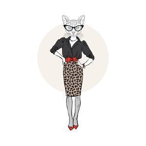 Cat Lady in Leopard Print Skirt by Olga_Angelloz