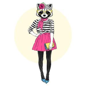 Cute Raccoon Hipster Girl by Olga_Angelloz