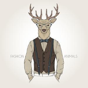 Deer Dressed up in Retro Style - Fashion Animals Illustration by Olga_Angelloz