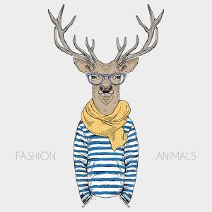 Deer Hipster Dressed up in a Cozy Scarf - Fashion Animal Illustration by Olga_Angelloz